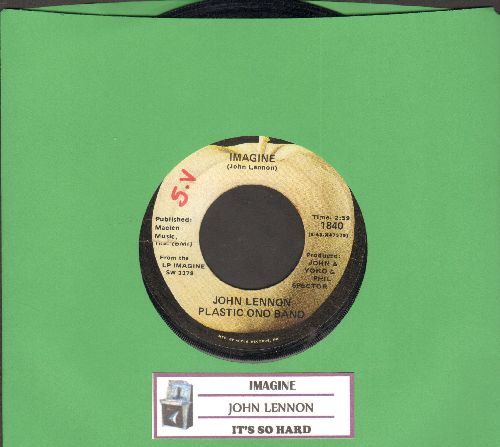 Lennon, John - Imagine/It's So Hard (with juke box label) - VG7/ - 45 rpm Records