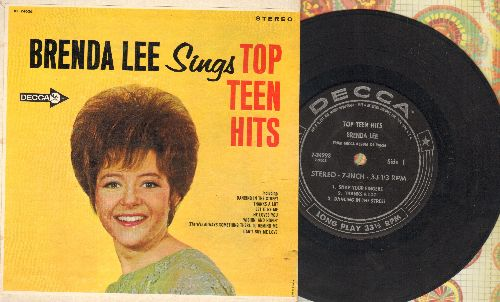 Lee, Brenda - Top Teen Hits: Snap Your Fingers/Thanks A Lot/Dancing In The Street/Is It True/Funny/Can't Buy Me Love (RARE 7 inch 33rpm STEREO EP with picture cover, small spindle hole) - EX8/EX8 - 45 rpm Records