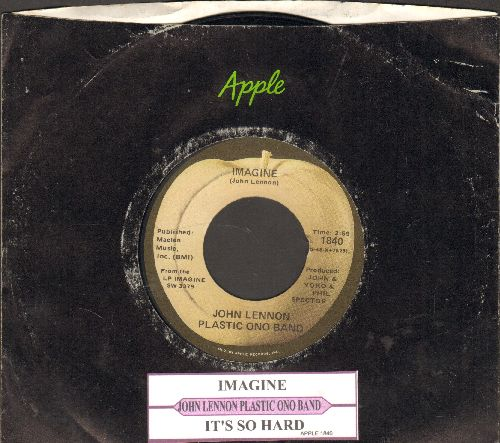 Lennon, John - Imagine/It's So Hard (with juke box label and Apple company sleeve) - NM9/ - 45 rpm Records