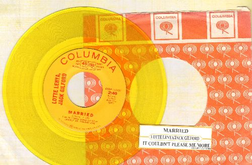 Lenya, Lotte & Jack Gilford - It Couldn't Please Me More/Married (RARE Yellow Vinyl Pressing with vintage Columbia company sleeve and juke box label) - NM9/ - 45 rpm Records