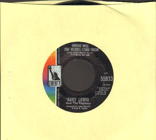 Lewis, Gary & The Playboys - Where Will The Words Come From/May The Best Man Win - NM9/ - 45 rpm Records