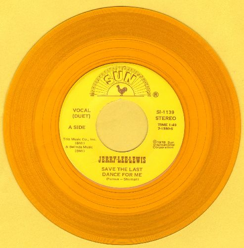 Lewis, Jerry Lee & Elvis Presley - Save The Last Dance For Me/Am I To Be The One (Duet with Elvis Presley sound-alike/impersonator, 1978 yellow vinyl release) - NM9/ - 45 rpm Records