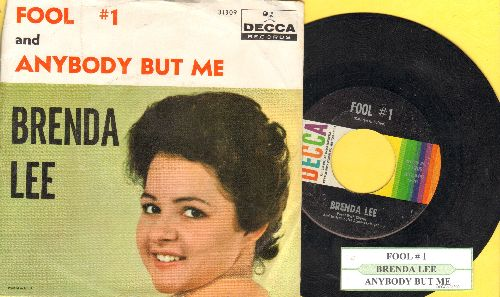 Lee, Brenda - Fool # 1/Anybody But Me (with picture sleeve and juke box label) - EX8/VG7 - 45 rpm Records