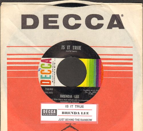 Lee, Brenda - Is It True?/Just Behind The Rainbow (with juke box label and Decca company sleeve) - EX8/ - 45 rpm Records