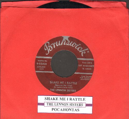 Lennon Sisters - Shake Me I Rattle (Sqeeze Me I Cry)/Pocohontas (burgundy label first issue with juke box label) - EX8/ - 45 rpm Records