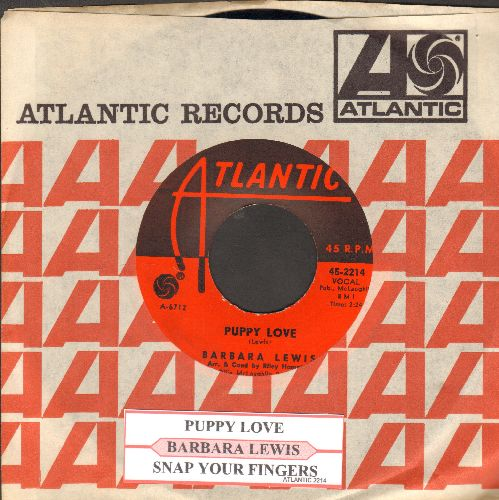 Lewis, Barbara - Snap Your Fingers/Puppy Love (FANTASTIC flip side!) (with juke box label and vintage Atlantic company sleeve, NICE ondition!) - NM9/ - 45 rpm Records
