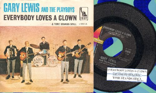 Lewis, Gary & The Playboys - Everybody Loves A Clown/Time Stands Still (with picture sleeve and juke box label) - NM9/EX8 - 45 rpm Records