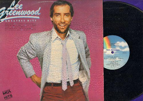 Greenwood, Lee - Greatest Hits: I.O.U., God Bless The USA, Dixie Road, Fool's Gold, Ain't No Trick (It Takes Magic) (viny LP record, DJ advance pressing) - NM9/NM9 - LP Records