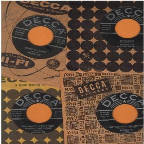 Lee, Brenda - Vintage 45rpm 4-pack with Decca company sleeve. All records are in very good condition. Hits include: Dynamite, One Teenager To Another, Bill Bailey Won't You Please Come Home and Sweet Nothin's. These are Brenda Lee's most collectable origi