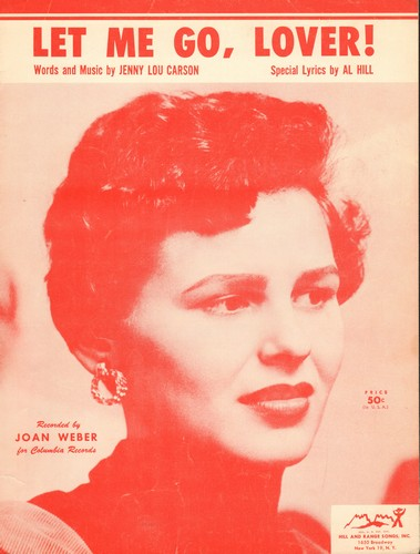 Weber, Joan - Let Me Go Lover - Vintage SHEET MUSIC for the song made popular by Joan Weber (This is SHEET MUSIC, not any other kind of media!) - EX8/ - Sheet Music