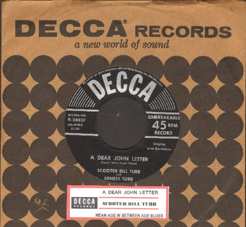Tubb, Scooter Bill - A Dear John Letter/Mean Age In Between Age Blues (with juke box label and vintage Decca company sleeve) - EX8/ - 45 rpm Records