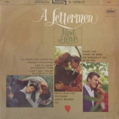 Lettermen - A Lettermen Kind Of Love: Friendly Persuasion, Young Love, Where Or When, Pretty Blue Eyes, Till, Too Young, Love Is A Many-Splendored Thing (Vinyl STEREO LP record, GERMAN pressing) - EX8/EX8 - LP Records