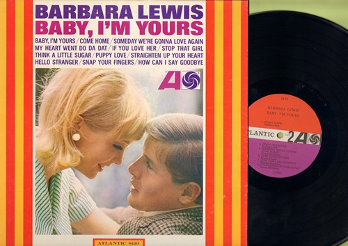 Lewis, Barbara - Baby, I'm Yours: My Heart Went Do Da Dat (FANTASTIC VINTAGE GIRL-SOUND!), Think A Little Sugar, Puppy Love (EXCELLENT UP-TEMPO GEM, BURRIED ON 45rpm FLIP-SIDE!), Snap Your Fingers (Vinyl MONO LP record) - VG7/VG6 - LP Records