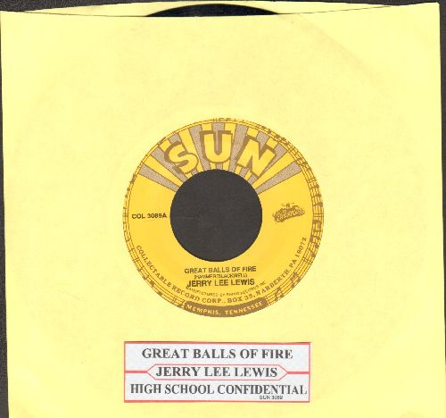 Lewis, Jerry Lee - Great Balls Of Fire/High School Confidential (authentic-looking double-hit re-issue with juke box label) - NM9/ - 45 rpm Records