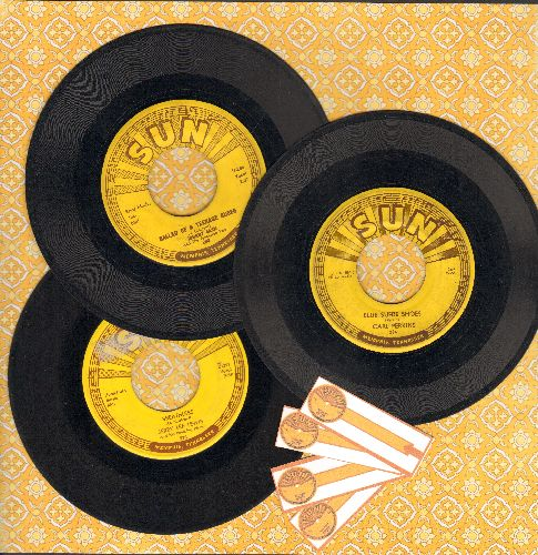 Cash, Johnny, Jerry Lee Lewis, Carl Perkins - Vintage Sun 3-Pack: Hits include Blue Suede Shoes, Breathless and Ballad Of A Teenage Queen. (Shipped in plain paper slees with 4 blank juke box labels) - VG6/ - 45 rpm Records
