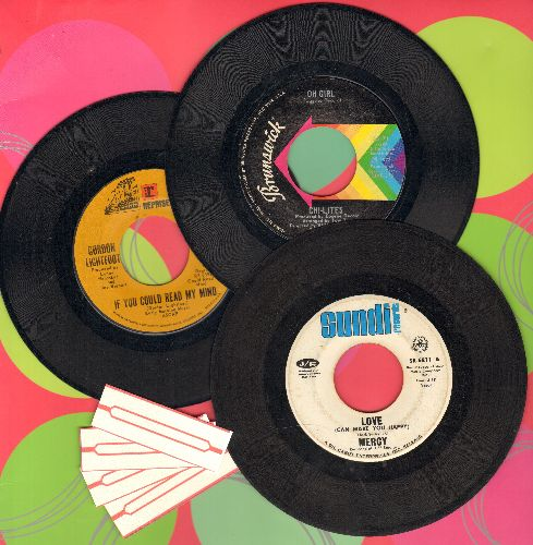 Chi-Lites, Gordon Lightfoot, Mercy - Mellow 70s 3-Pack. First pressing hits include If You Could Read My Mind, Love (Can Make You Happy) and Oh Girl. Shipped in plain sleeves with 4 blank juke box labels. GREAT for a juke box! - VG7/ - 45 rpm Records