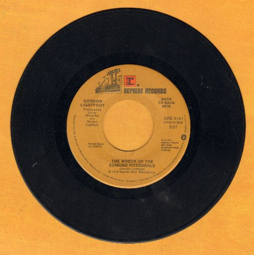 Lightfoot, Gordon - The Wreck Of The Edmund Fitzgerald/Race Among The Ruins (double-hit re-issue) - EX8/ - 45 rpm Records