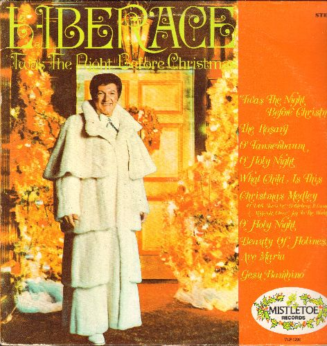 Liberace - Twas The Night Before Christmas: Sleigh Ride, Star Bright, The Toy Piano, The Christmas Song, Gesu bambino, O Holy Night (Vinyl MONO LP record) - NM9/EX8 - LP Records