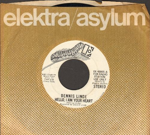 Linde, Dennis - Hello, I'm Your Heart (double-A-sided DJ advance pressing with Elektra company sleeve) - NM9/ - 45 rpm Records