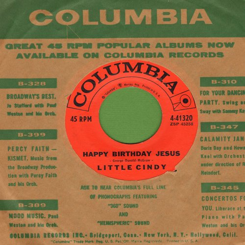 Little Cindy - Happy Birthday Jesus/Blue Christmas (by The Willis Sisters on flip-side, with vintage Columbia company sleeve) - NM9/ - 45 rpm Records