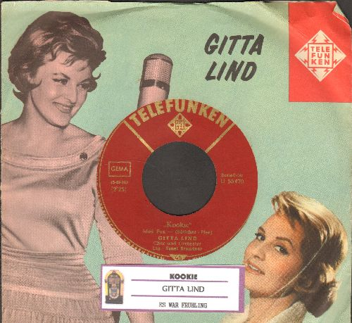 Lind, Gitta - Kookie/Es war Fruhling (German Pressing, sung in German, with juke box label and picture sleeve) - NM9/EX8 - 45 rpm Records