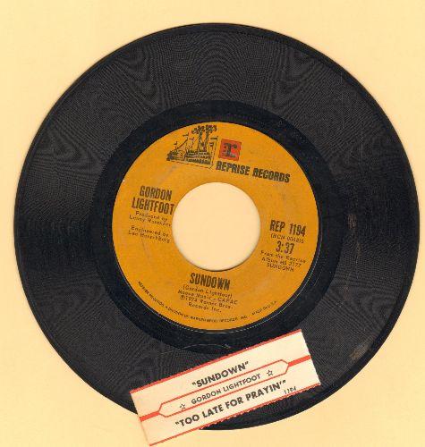 Lightfoot, Gordon - Sundown/Too Late For Prayin' (with juke box label) - EX8/ - 45 rpm Records