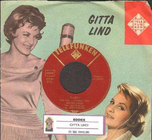 Lind, Gitta - Kookie (Gitta Lind with Hans Clarin)/Es war Fruehling (German Pressing with picture sleeve and juke box label) - NM9/ - 45 rpm Records