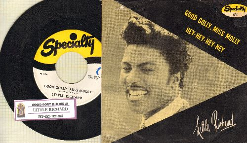 Little Richard - Good Golly, Miss Molly/Hey-Hey-Hey-Hey (with RARE picture sleeve and juke box label) - EX8/VG7 - 45 rpm Records