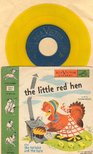 Riggs, Glenn - The Little Red HenThe Tortoise And The Hare (RARE Yellow Vinyl pressing with picture sleeve) - NM9/VG7 - 45 rpm Records