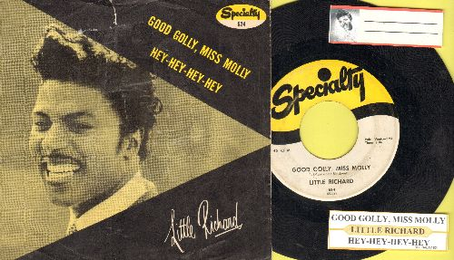 Little Richard - Good Golly, Miss Molly/Hey-Hey-Hey-Hey (with juke box label and picture sleeve) - VG7/VG7 - 45 rpm Records