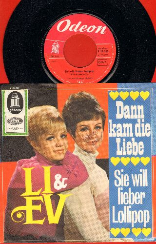 Li & Ev - Sie will lieber Lollipop (On The Good Ship Lollipop)/Dann kam die Liebe (German Pressing with picture sleeve, sung in German)(wol) - NM9/VG7 - 45 rpm Records
