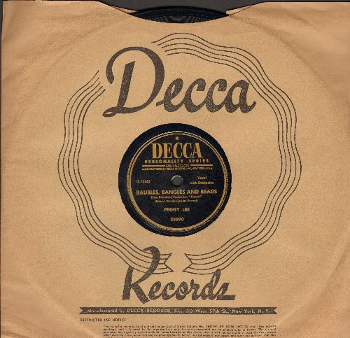 Lee, Peggy - Baubles, Bangles And Beads/Love You So (10 inch 78 rpm record with Decca company sleeve) - NM9/ - 78 rpm