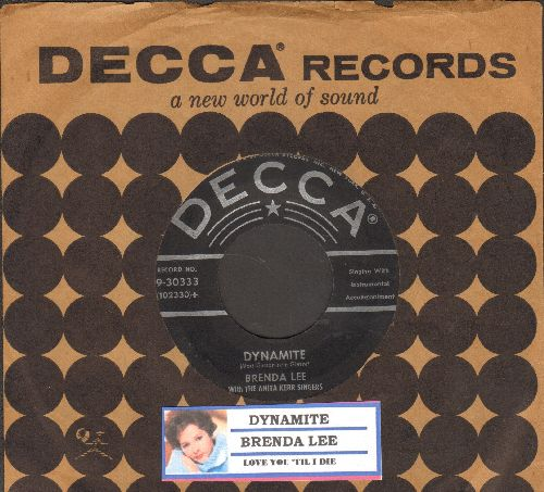 Lee, Brenda - Dynamite/Love You 'Till I Die (with juke box label and Decca company sleeve) - EX8/ - 45 rpm Records