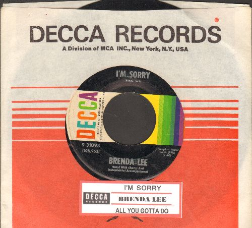 Lee, Brenda - I'm Sorry (So Sorry)/That's All You Gotta Do (with juke box label and Decca company sleeve) - EX8/ - 45 rpm Records