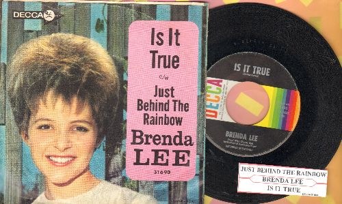 Lee, Brenda - Is It True?/Just Behind The Rainbow (with juke box label and picture sleeve) - EX8/VG7 - 45 rpm Records