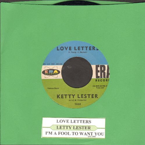 Lester, Ketty - Love Letters/I'm A Fool To Want You (1962 first pressing in NICE condition with juke box label) - NM9/ - 45 rpm Records