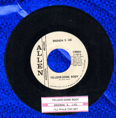 Lee, Brenda S. - To Love Somebody/I'll Walk The Sky (DJ advance pressing with juke box label) - NM9/ - 45 rpm Records