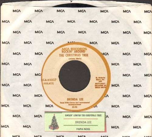 Lee, Brenda - Rockin' Around The Christmas Tree/Papa Noel (less common white label, brown circle re-issue with juke box label and MCA company sleeve) - NM9/ - 45 rpm Records