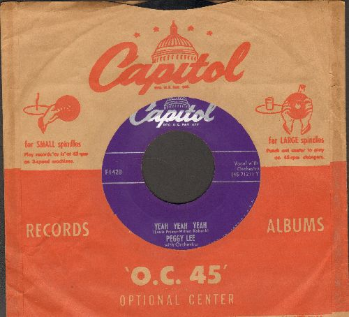 Lee, Peggy - Yeah Yeah Yeah/Rock Me To Sleep (with vintage Capitol company sleeve) - EX8/ - 45 rpm Records