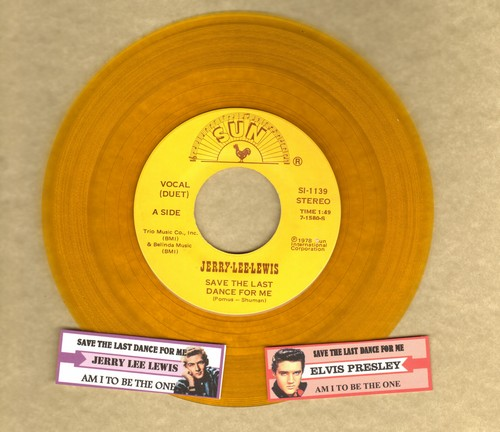 Lewis, Jerry Lee & Elvis Presley - Save The Last Dance For Me/Am I To Be The One (Duet with Elvis Presley sound-alike/impersonator, 1978 yellow vinyl release with 2 juke box labels picturing Jerry Lee Lewis and Elvis Presley, suitable for framing!) - NM9/