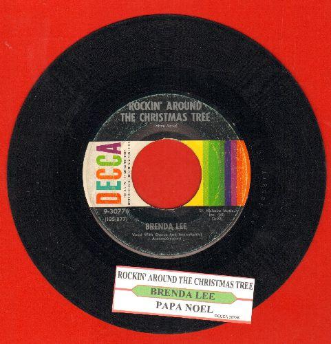 Lee, Brenda - Rockin' Around The Christmas Tree/Papa Noel (multi-color label with juke box label) - VG7/ - 45 rpm Records