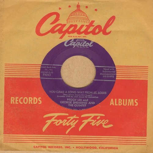 Lee, Peggy - You Came A Long Way From St. Louis/I Love My Sugar In Salt Lake City (with vintage Capitol company sleeve) - EX8/ - 45 rpm Records