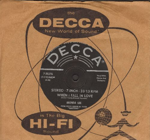 Lee, Brenda - When I Fall In Love/Crazy Talk (RARE 7 inch 33rpm STEREO record with vintage Decca company sleeve, small spindle hole) - EX8/ - 45 rpm Records