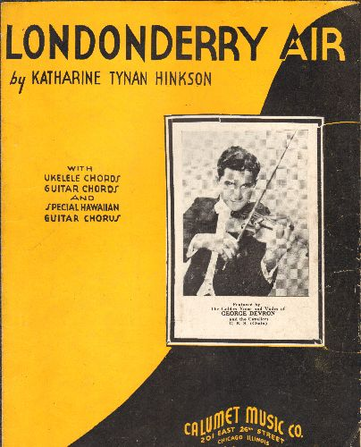 Devron, George - Londonderry Air - Vintage SHEET MUSIC for the Standard, with NICE portrait of Vocalist/Violinist George Devron - VG7/ - Sheet Music