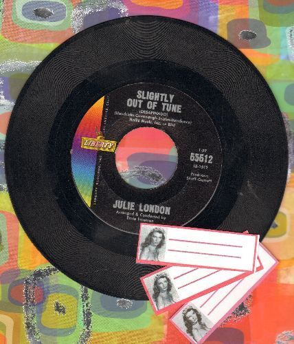 London, Julie - Slightly Out Of Tune/Where Did The Gentleman Go (with BONUS 3 blank juke box labels with Julie London's likeness! - GREAT for a fan or juke box owner!) - EX8/ - 45 rpm Records
