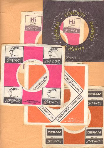 Company Sleeves - 5 Vintage London/Parrot/Deram/Hi Company Sleeves (exactly as pictured!) - Dress up your 7 inch vinyl records in original company sleeves of the 1960s,  70s & 80s. Good to excellent condition. - /EX8 - Supplies