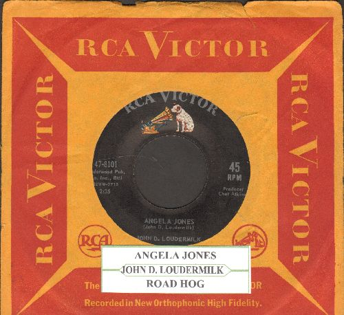 Loudermilk, John D. - Angela Jones/Road Hog (with juke box label and RCA company sleeve) - EX8/ - 45 rpm Records