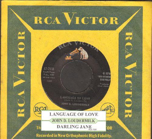 Loudermilk, John D. - Language Of Love (Shoobie-Doobie-Doobie-Doo)/Darling Jane (with RCA company sleeve and juke box label) - NM9/ - 45 rpm Records