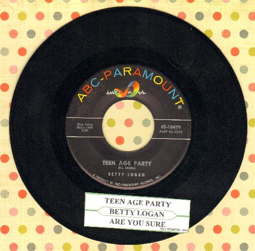Logan, Betty - Teen Age Party/Are You Sure (with juke box label) - EX8/ - 45 rpm Records