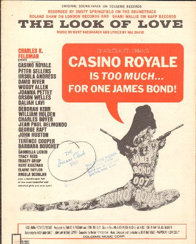 Springfield, Dusty - The Look Of Love - Vintage SHEET MUSIC for the Love Theme from James Bond Classic -Casino Royal- as performed by Dusty Springfield (minor wol) - EX8/ - Sheet Music